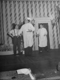 Comedians Billy Gilbert and Shemp Howard Walking Through Scene While Wearing Flannel Nighties Premium Photographic Print