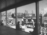 The Patio of the Delta Delta Delta House Being Used for Ping Pong, Sun Bathing and Outdoor Eating Premium Photographic Print