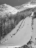 Crowds of People Enjoying the Slopes, Location for the Olympic Winter Games Premium Photographic Print