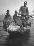 Fisherman Posing with His Comorants, Fishing Birds Premium Photographic Print