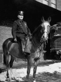 An Officer Posing on His Police Horse Premium Photographic Print