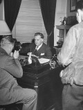 Presidential Secretary Stephen T. Early, Conducting a Press Conference in His White House Office Premium Photographic Print