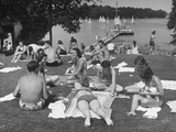 Kids and Adults Relaxing in the Sun, Picnicking, Swimming and Sailing their Boats at Orchard Lake Premium Photographic Print