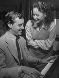 Actress Alida Valli Listening to Husband Oscar De Mejo Play the Piano Premium Photographic Print