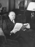 Senator Harry Byrd, Sitting in Chair Reading a Book Premium Photographic Print