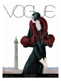 Vogue Cover - October 1929 - Fur Fashion Regular Giclee Print by Georges Lepape