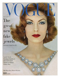 Vogue Cover - November 1957 - Blue Jewels Regular Giclee Print by  Leombruno-Bodi