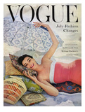 Vogue Cover - July 1954 Premium Giclee Print by Karen Radkai