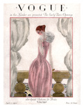 Vogue Cover - April 1923 - Pink Evening Gown Regular Giclee Print by Georges Lepape