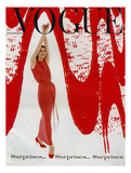 Vogue Cover - December 1958 - Paint the Town Red Giclee Print by William Bell