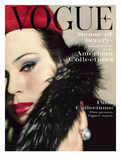 Vogue Cover - September 1959 - Fur Collar Regular Giclee Print by Karen Radkai