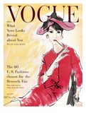 Vogue Cover - April 1958 - Power Suit Regular Giclee Print by René R. Bouché