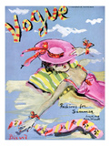 Vogue Cover - June 1939 - Sun Bathing Regular Giclee Print by Christian Berard