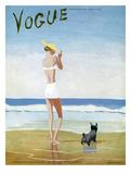Vogue Cover - July 1937 - Beach Walk Regular Giclee Print von Eduardo Garcia Benito