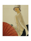 Vogue - January 1928 - Red Parasol Regular Giclee Print by Porter Woodruff