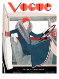 Vogue Cover - March 1929 - Riding in Style Regular Giclee Print by Pierre Mourgue