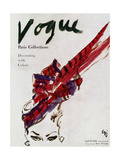 "Vogue Cover - April 1946 - Feathered Hat Regular Giclee Print by Carl ""Eric"" Erickson"