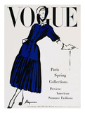 Vogue Cover - April 1947 - Black and Blue Giclee Print by  Dagmar