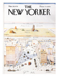 The New Yorker Cover, View of the World from 9th Avenue - March 29, 1976 Reproduction procédé giclée par Saul Steinberg