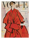 Vogue Cover - November 1953 - Christmas Coat Regular Giclee Print par René R. Bouché