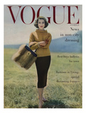 Vogue Cover - October 1956 - Fall into Fur Regular Giclee Print by Karen Radkai