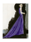 Vogue - March 1934 - Purple Gown Regular Giclee Print by Pierre Mourgue