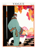 Vogue Cover - October 1922 - Dressed to Teal Regular Giclee Print by Helen Dryden