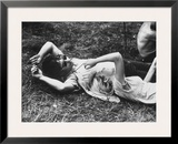 Young Couple Relaxing During Woodstock Music Festival Framed Photographic Print by Bill Eppridge
