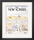 The New Yorker Cover, View of the World from 9th Avenue - March 29, 1976 Framed Giclee Print by Saul Steinberg