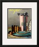 Vogue Cover - December 1937 Framed Giclee Print by Pierre Roy