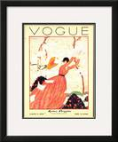 Vogue Cover - February 1928 Framed Giclee Print by Georges Lepape
