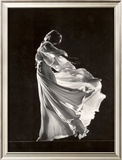 Model Posing in Billowing Light Colored Sheer Nightgown and Peignoir Framed Photographic Print by Gjon Mili