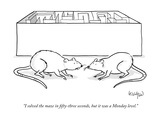 """I solved the maze in fifty-three seconds, but it was a Monday level."" - New Yorker Cartoon Premium Giclee Print by Robert Leighton"
