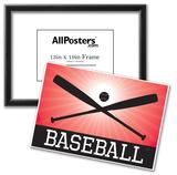 Baseball Red Sports Poster Print Print