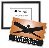Cricket Orange Sports Poster Print Poster