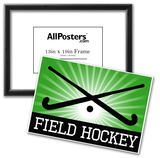 Field Hockey Crossed Sticks Green Sports Poster Print Poster
