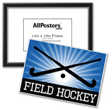 Field Hockey Crossed Sticks Blue Sports Poster Print Posters