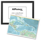 Map of Central America and the Caribbean (Political) Art Poster Print Print