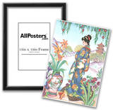 Asian Lady with Fan Art Print POSTER Lithograph Posters