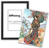 Asian Lady with Parasol Art Print POSTER lithograph Poster