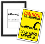 Caution Loch Ness Monster Sign Art Poster Print Posters
