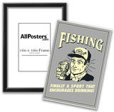 Fishing Finally Sport That Encourages Drinking  Funny Retro Poster Posters