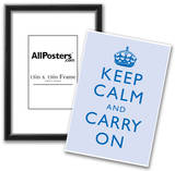 Keep Calm and Carry On Motivational Light Blue Art Print Poster Print