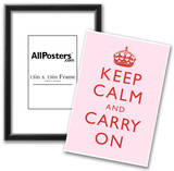 Keep Calm and Carry On Motivational Very Light Pink Art Print Poster Poster