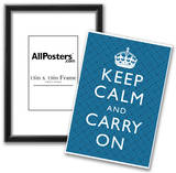 Keep Calm and Carry On Motivational Blue Pattern Art Print Poster Posters