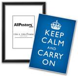 Keep Calm and Carry On (Motivational, Medium Blue) Art Poster Print Prints