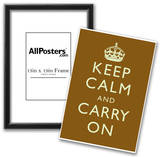 Keep Calm and Carry On Motivational Brown Art Print Poster Posters