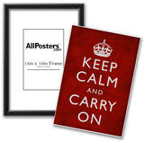 Keep Calm and Carry On (Motivational, Red, Textured) Art Poster Print Posters