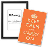 Keep Calm and Carry On Motivational Orange Art Print Poster Posters