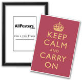 Keep Calm and Carry On Motivational Rose Pink Art Print Poster Poster